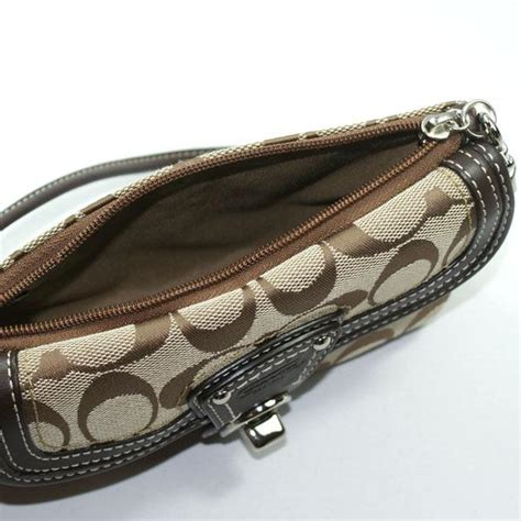 Coach Legacy Signature Cotton Slim Flap by Coach Legacy Signature Capacity Flap Wristlet Brn 41941
