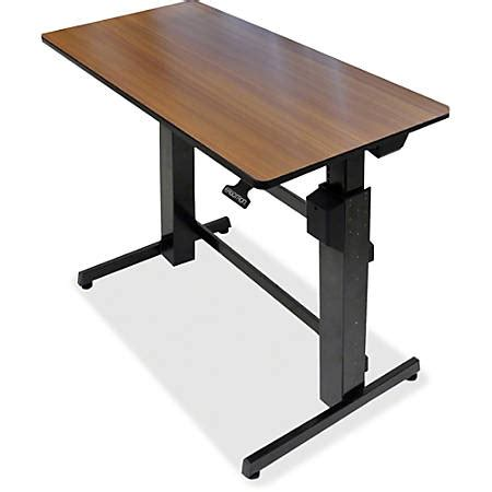 workfit d sit stand desk ergotron workfit d sit stand desk walnut by office depot