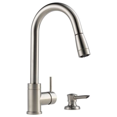 delta peerless pull out kitchen faucet with soap dispenser p188104lf sssd integrated pull down kitchen faucet with