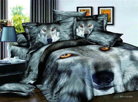 wolf print comforter set 3d black and white wolf animal print bedding comforter set