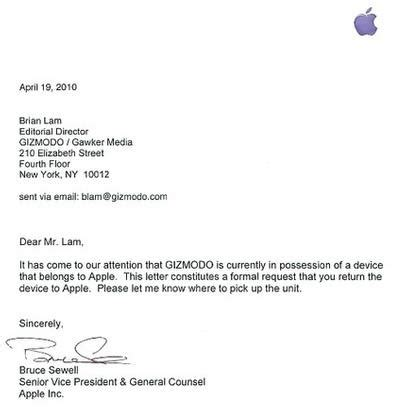 Request Laptop Letter Apple Request Iphone 4g Be Returned Tech Digest