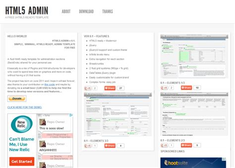 simple html admin template html5 interface template images