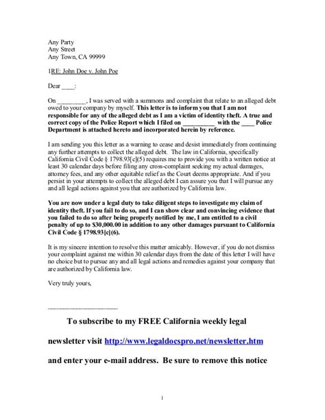 Sle Letter Credit Bureau Identity Theft Sle Letter To California Creditor By Victim Of Identity Theft