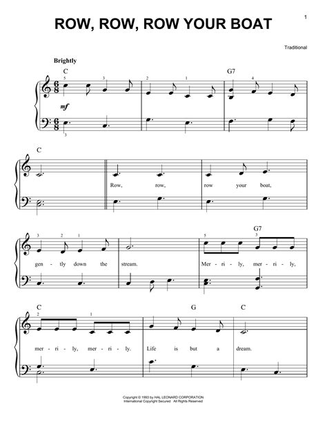 row row row your boat notes piano row row row your boat sheet music by traditional easy