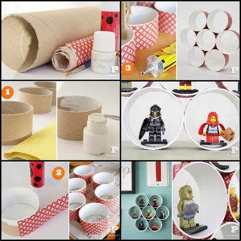 membuat rak kertas dari kardus membuat rak miniature lego dari bekas gulungan tissue