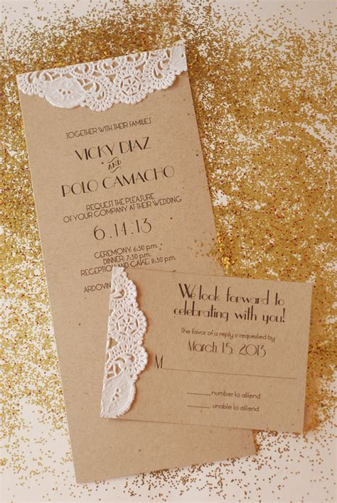 Handmade Engagement Invitations - handmade custom vintage glam wedding invitation engagement