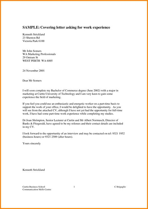 Work Experience Letter Template Year 10 Experience Letter Sle Similarlydifferent Co