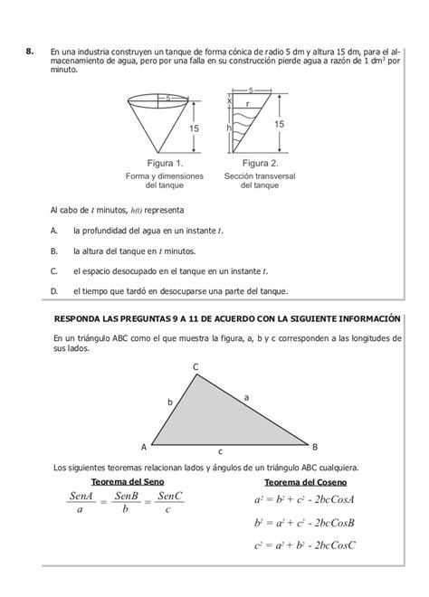 preguntas icfes matematicas 11 icfes ejemplo de preguntas matem 225 ticas 2010