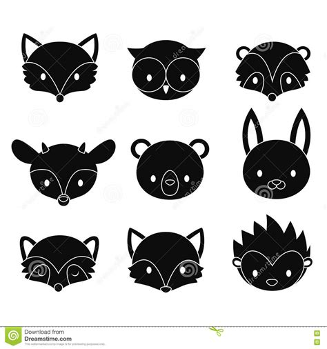 woodland silhouette l shade set of cartoon woodland animals heads vector silhouettes