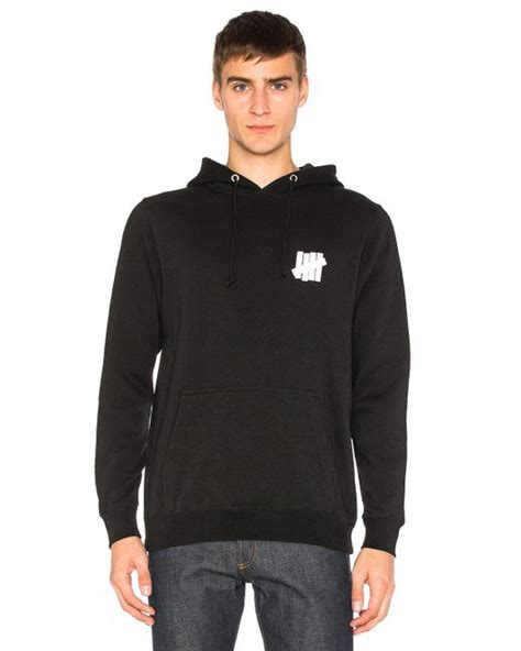 Jaket Zipper Hoodie Sweater Undefeated Hitam 4 undefeated interference hoodie in black for lyst