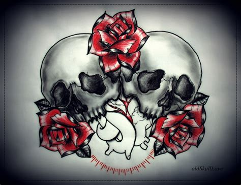 skull heart tattoo hearts and roses and skulls drawings www pixshark