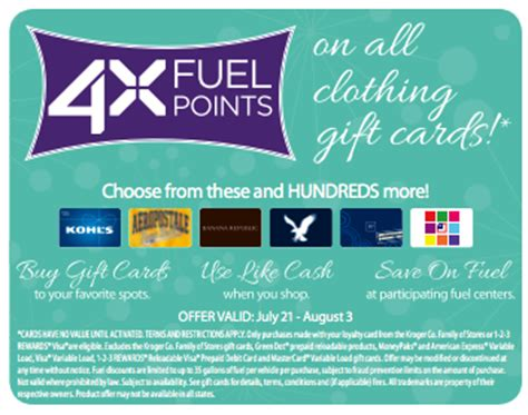 Gift Cards At Kroger List - kroger 4x fuel rewards when you buy clothing gift cards kroger krazy