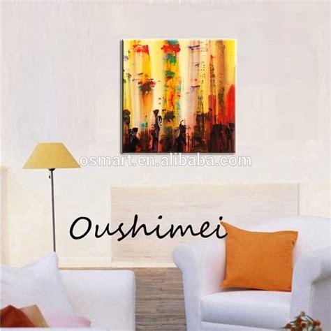 ukuran besar abstrak lukisan minyak buatan tangan hiasan dinding senja bagasi kuning harga