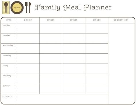 Monthly Dinner Menu Template Printables And Menu Editable Meal Plan Template