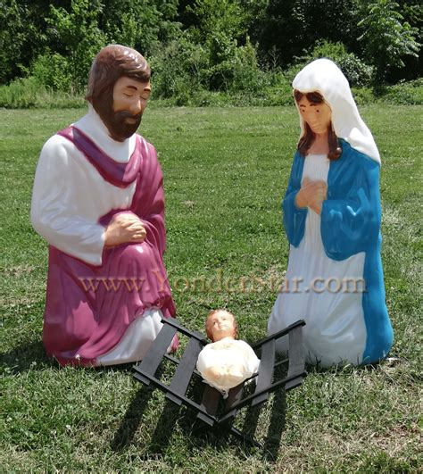 outdoor lighted nativity scene holy family set lighted