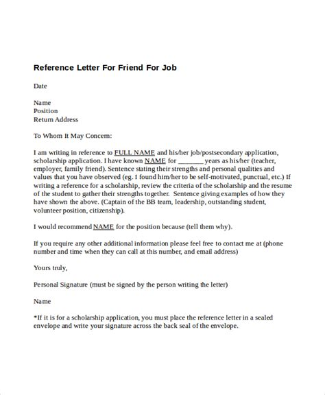 Reference Letter For Friend For College 5 Reference Letter For Friend Templates Free Sle