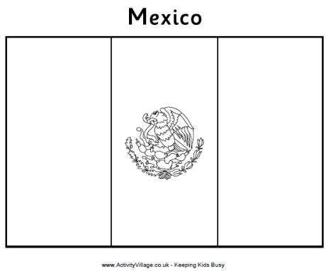 Mexico Flag Colouring Page Mexican Flag Color Page