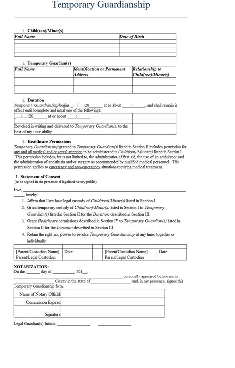 Temporary Guardianship Letter Template Sle Temporary Custody Affidavit Template