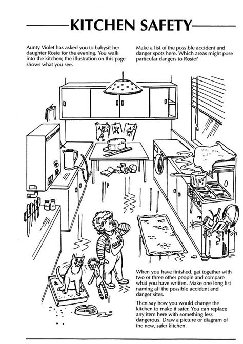 coloring pages for food safety safety in the home worksheets kitchen google search