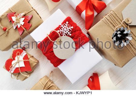 christmas gift box  tag mock  craft items set wooden stock photo royalty  image