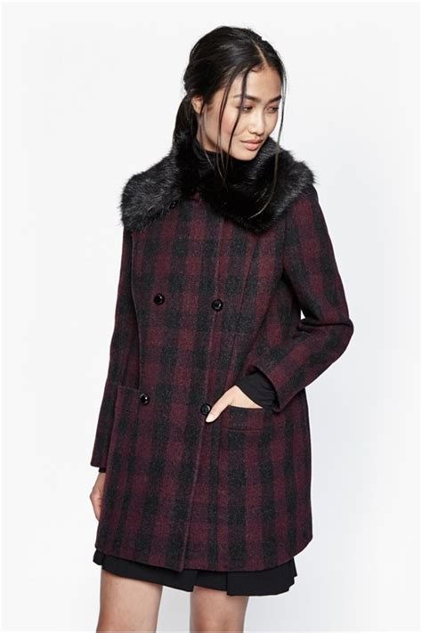 Plain Collared Coat highland wool fur collared coat jackets coats