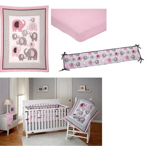 Pink Elephant Crib Bedding Set 4 Baby Crib Bedding Pink Nursery Elephant Comforter Sweet Bumper Set Ebay