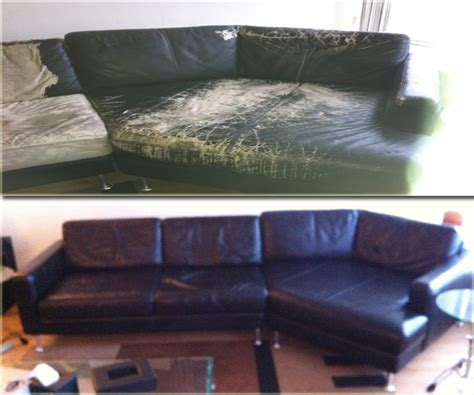 upholstery dyeing leather furniture repairs color matching before and after