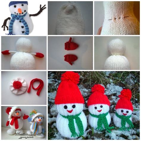 the diy jolly knitted snowmen with free patterns