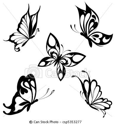 black and white butterfly tattoo vector set black white butterflies of a ta stock