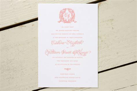 what monogram do you put on wedding invitations acanthus monogram letterpress wedding invitations