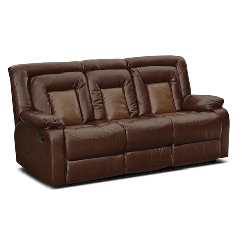 Reclining Sofas Leather Furniture Faux Brown Leather Reclining Sectional Sofa That Was Made For Three With Sleeper