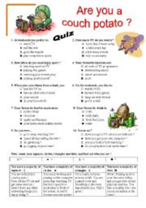 English Worksheet Are You A Couch Potato Quiz