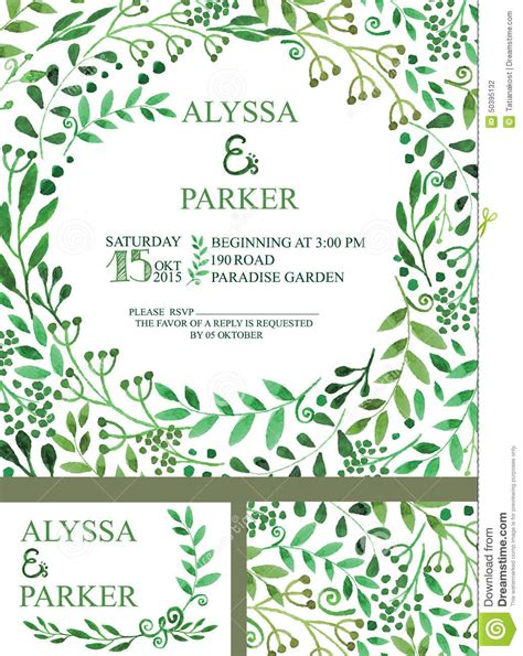 Wedding Invitation With Green Watercolor Brunches Stock