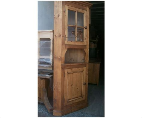 Corner Cabinet Glass Doors Glass Door Corner Cabinet With Pine Shelf