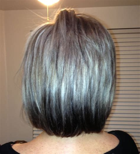 pictures of dark brown hair with gray highlights chocolate brown and gray highlights short hairstyle 2013