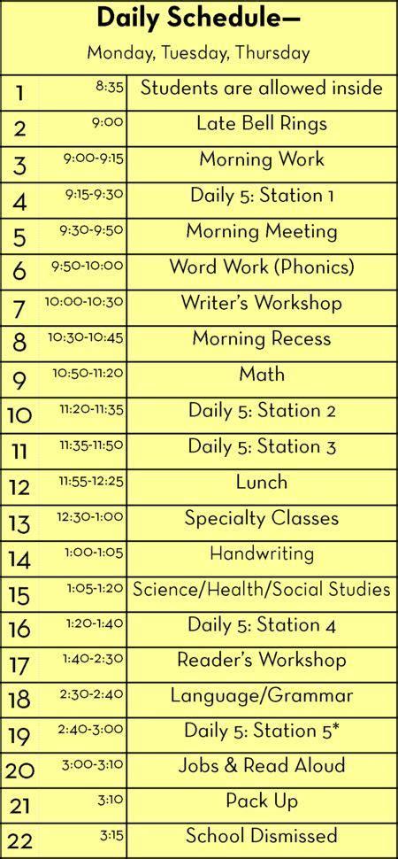 1000 Ideas About 1st Grades On Pinterest First Grade Teacher Notebook And Math Second Grade Schedule Template