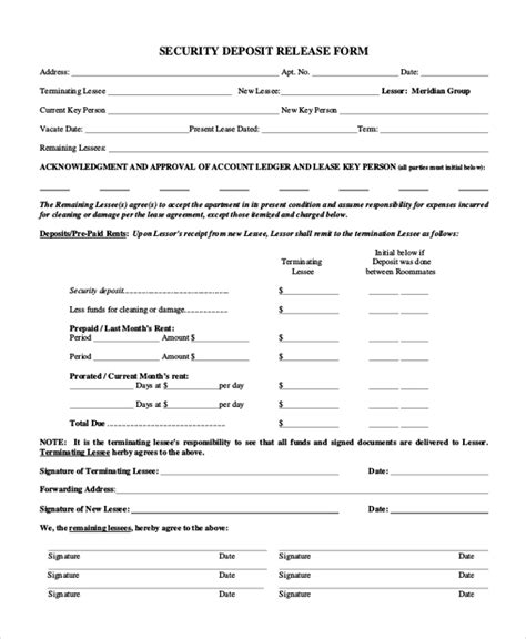 Key Release Letter Sle Security Deposit Form 10 Free Documents In Pdf