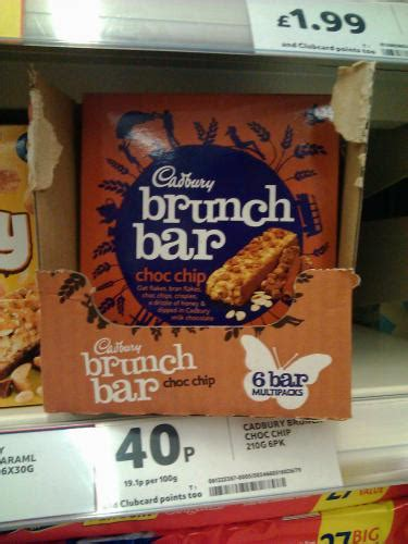 Cadbury Brunch Bar Choc Chip cadbury choc chip brunch bar 6pack 40p tesco hotukdeals