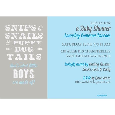snips snails and puppy tails snips and snails and puppy tails baby shower invitation kateogroup