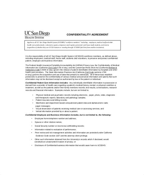 patient confidentiality agreement template patient confidentiality agreement templates for