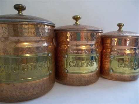 set of 3 copper canisters italian copper kitchen wares hand