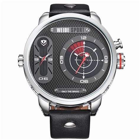 weide japan quartz miyota leather sports 30m water resistance wh3409 silver black