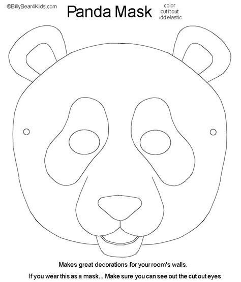 printable panda mask template panda mask cut color craft animals zoo