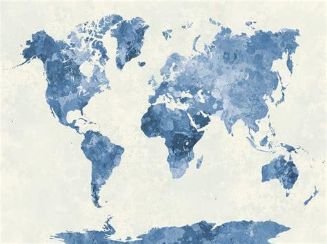 water color map blue watercolour world map custom wallpaper