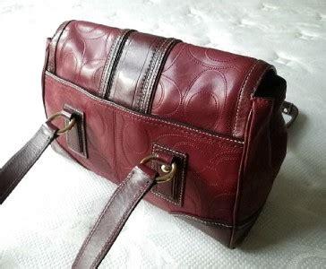 Flap Bag Import A168 Goyard Maroon coach htons vintage burgundy stitched sig c lg flap leather purse bag satchel