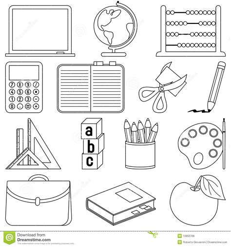 school objects matching b w worksheets kola pinterest coloring school icons stock vector illustration of