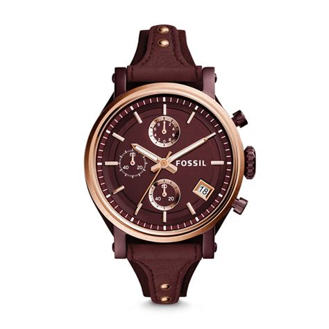 Jam Tangan Fossil Es 4116 Gwynn Chronograph Wine Leather original boyfriend sport chronograph wine leather