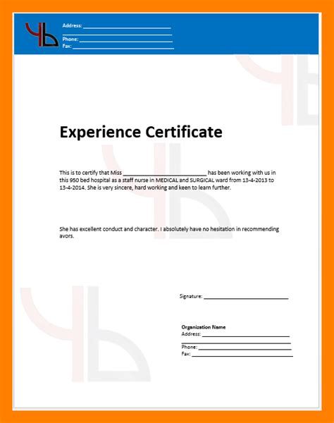 certification letter for nurses 5 experience certificate for format points of origins