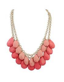Kalung Korea Choker Pendant Decorated Hollw Out Weaving womens pink waterdrop shape decorated simple design asujewelry