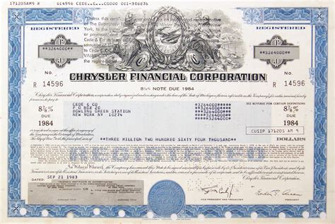 Chrysler Financial Corp by Scripophily Chrysler Page